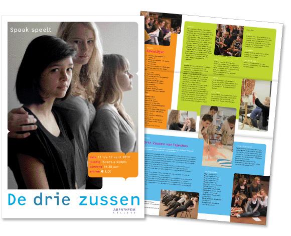 Poster en programma 'De drie zussen'