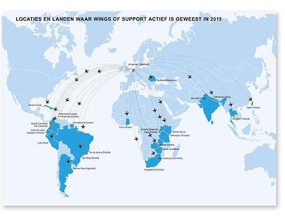 kaart - Lokaties en landen waar Wings of Support actief is geweest